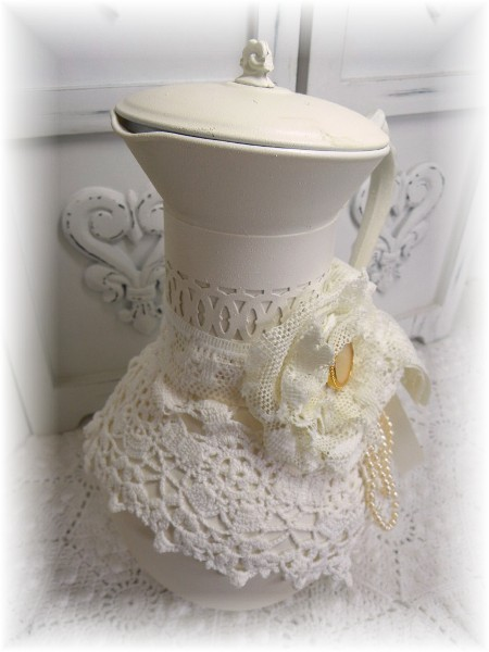 Ivory and lace vintage inspired coffee carafe