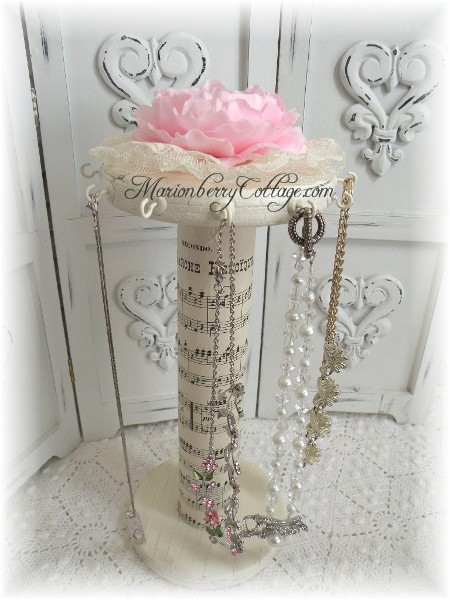 Vintage spool Necklace Jewelry tower Shabby French Cottage