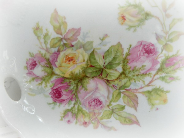 Vintage Germany PINK ROSES display plate