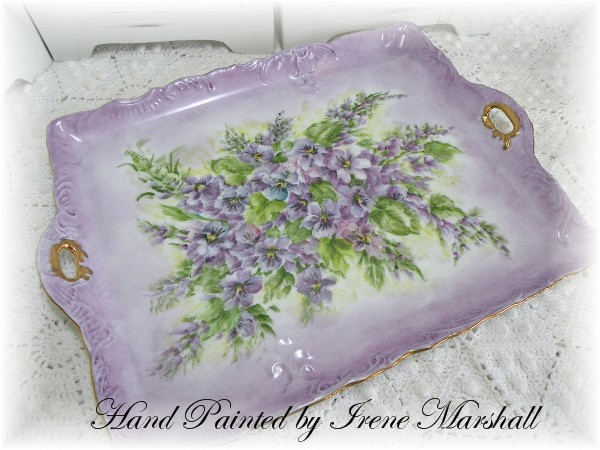 Vanity or serving tray Violets Hand Painted by Irene Marshall