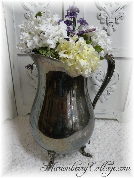 Vintage tarnished Silver Pitcher Vase