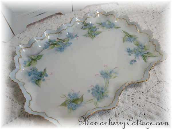 Vintage MZ Austria Vanity or Serving tray Forget Me Nots
