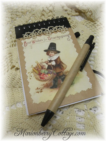 Thanksgiving note pad and pen set Best Wishes