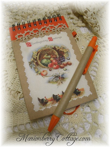 Thanksgiving note pad and pen set  Greetings
