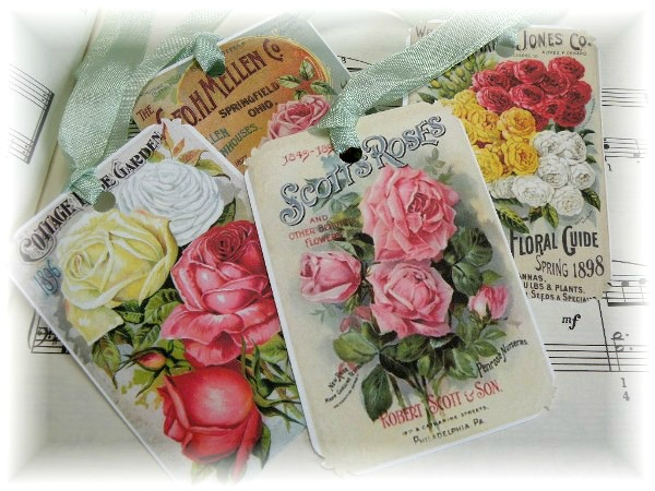 Gift tags VINTAGE COTTAGE GARDEN ROSES