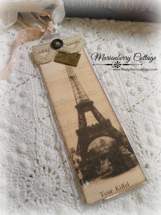 Inspirational Bookmark Vintage Tour Eiffel sepia