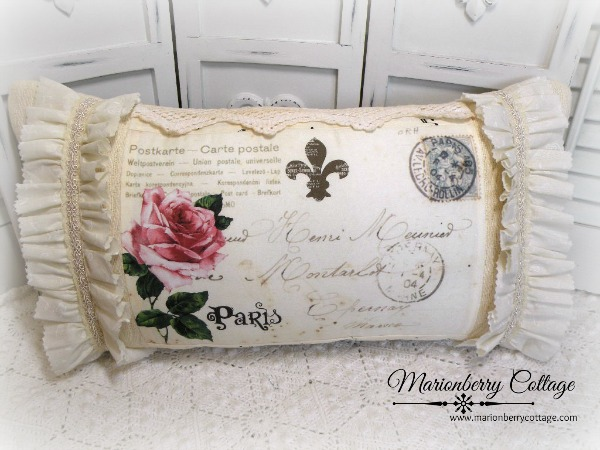 Pink Roses Paris Postcard pillow Vintage Carte Postale
