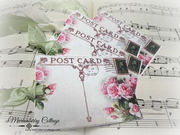 GIFT TAGS Vintage postcard PINK ROSES