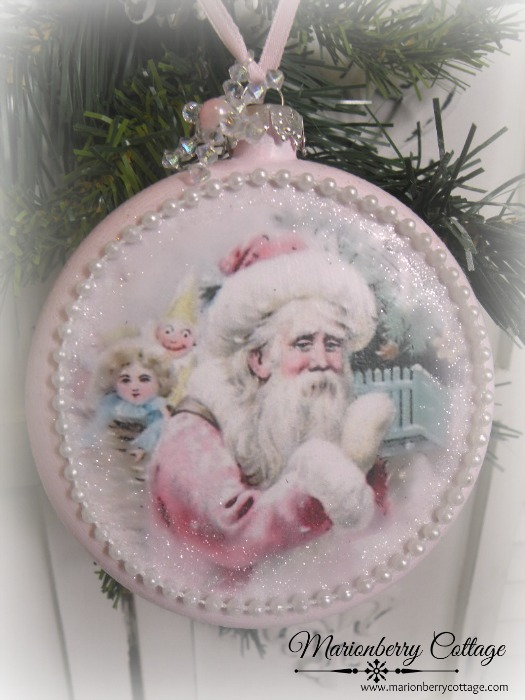 Shabby Pink Santa with gifts ornament
