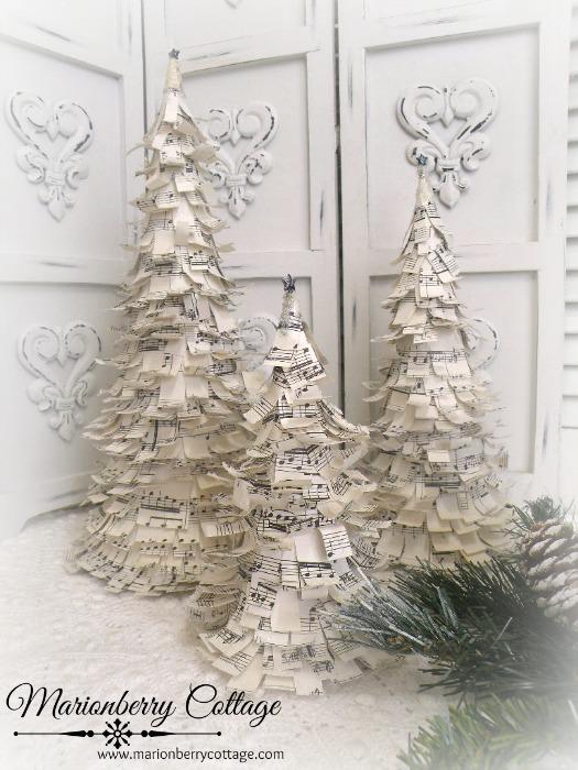 Vintage Sheet Music Holiday Tree set