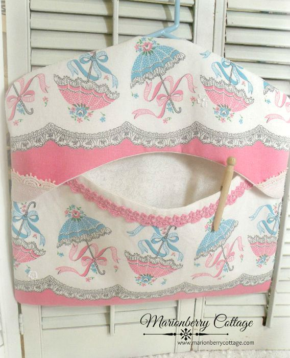 Pink Parosols Clothes pin bag Shabby vintage chic