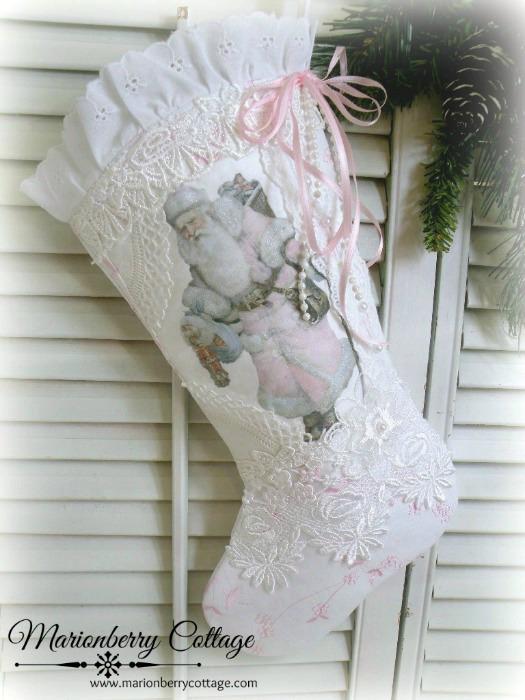 Victorian Christmas Pink Santa Stocking
