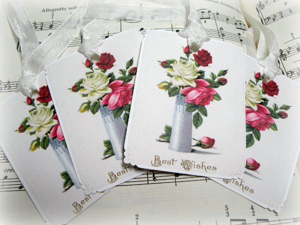 Gift tags BEST WISHES vase of roses