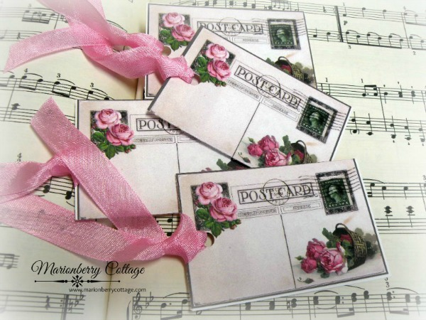GIFT TAGS Vintage 1922 postcard with roses