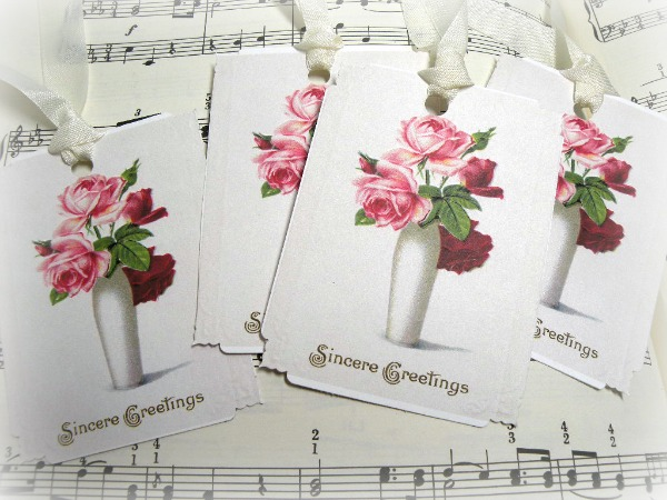 Gift tags Vintage roses SINCERE GREETINGS