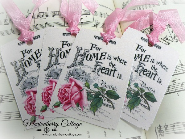 Gift Tags Vintage Home is where the heart is