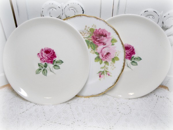 Vintage Pink roses Mismatched China Small Plates set of 3