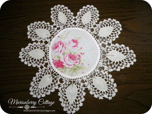 Vintage round Crochet doily ribbon and pink roses