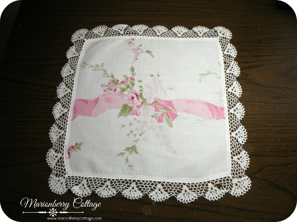 Vintage square Crochet doily ribbon and pink roses