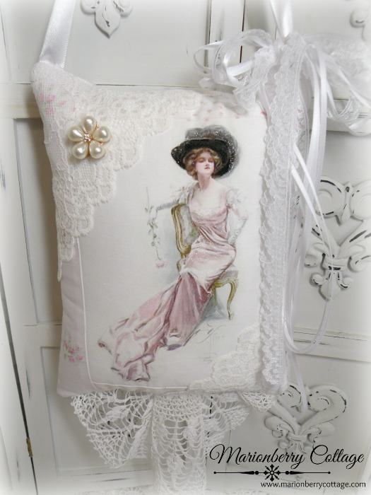 Harrison Fisher Pink gown KEEPSAKE Gift Pillow w/matching tag and sachet