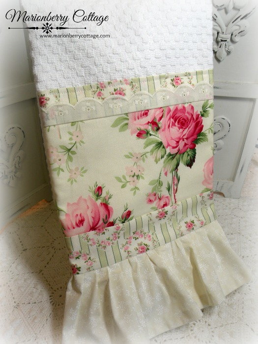 Sweet Barefoot Roses Cottage Charm Kitchen towel