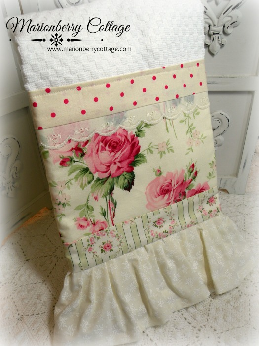 Barefoot Roses Retro cottage Kitchen towel