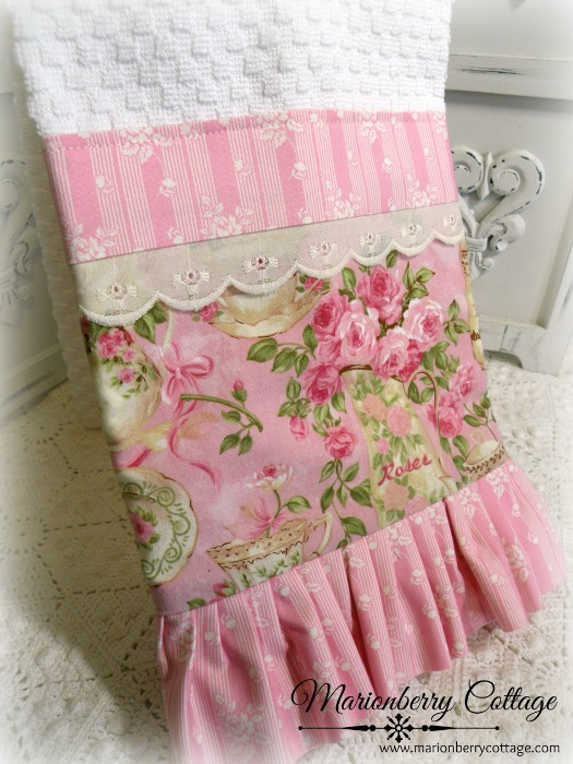 Tea and pink roses kitchen towel