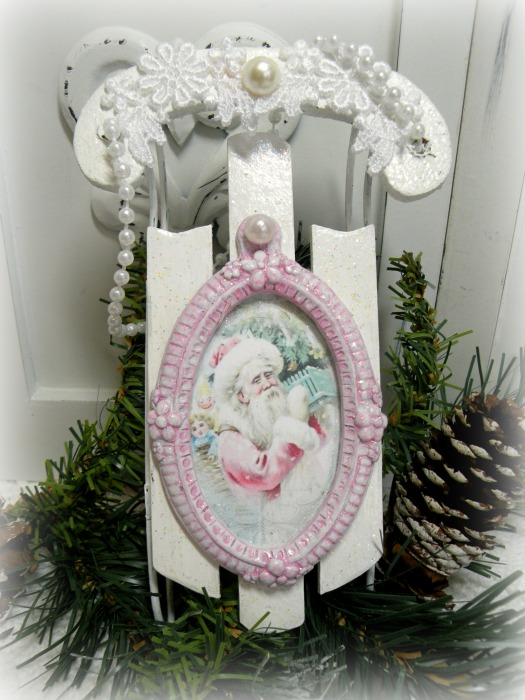 Pink Santa Sled ornanent or display element