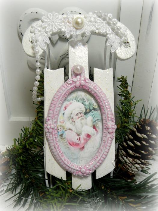 Pink Santa Sled ornanent or display element