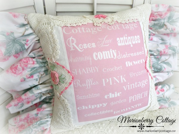 Shabby pink Cottage Words pillow SALE