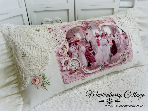 Romantic Victorian Soiree lace and crochet pillow