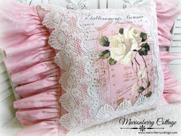 Vintage French script lacy pink ruffled pillow ivory rose