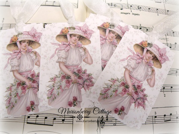 Gift tags soft pink roses bouquet Garden Girl