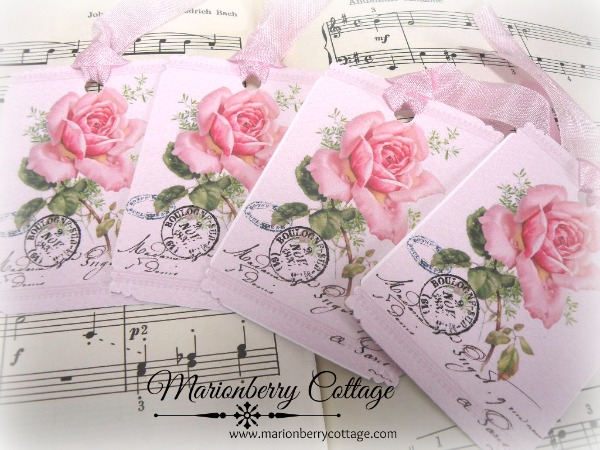 Gift tags French postmark pink rose