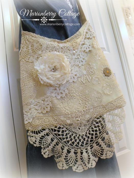 Lacy vintage crochet collage Gypsy boho handbag
