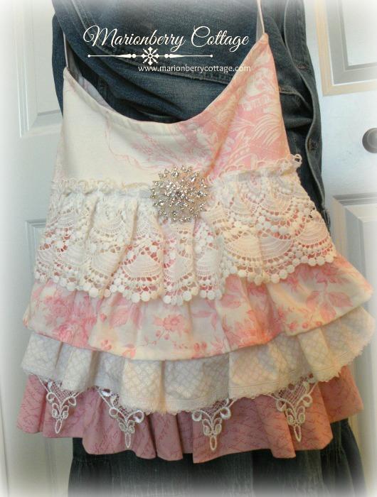 Romantic Pink Toile ruffles and lace slouchy handbag