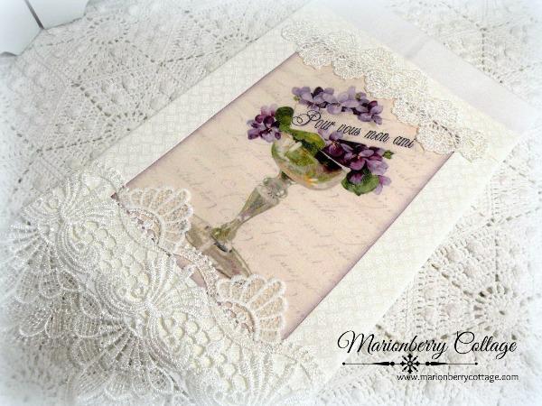 Guest Tea towel French Script Pour Vous Lavender violets