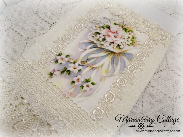 Guest tea towel soft pink rose and ribbon bouquet