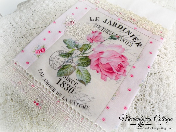 Guest Tea towel French pink roses