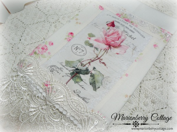 Guest Tea towel French script and roses