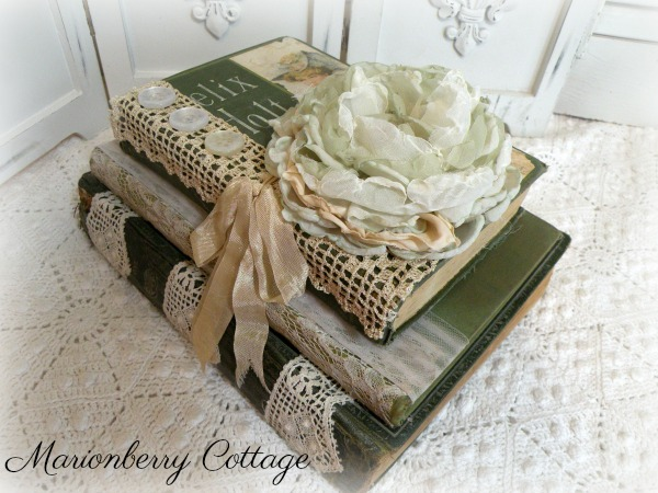 Vintage stacked book bundle romantic Green rose