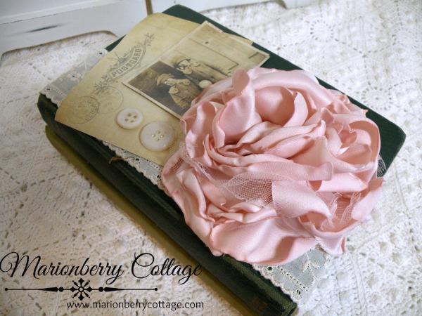 Vintage stacked book bundle romantic pink rose