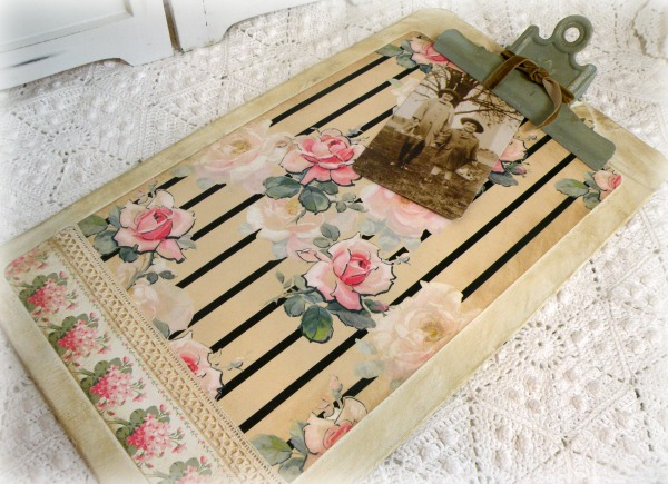 Vintage cottage roses farmhouse clipboard wall art