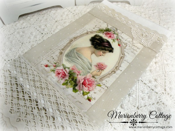 Guest Tea towel French Lady and Roses
