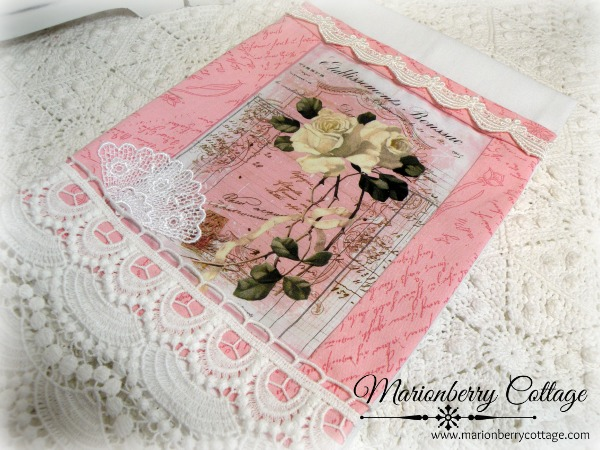 Guest tea towel French Script white rose