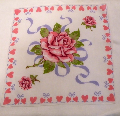 Vintage Pink roses and Hearts Hanky