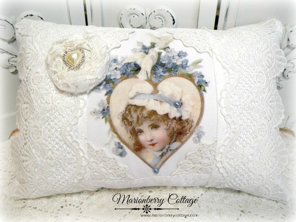 Forget me Nots Victorian Heart pillow