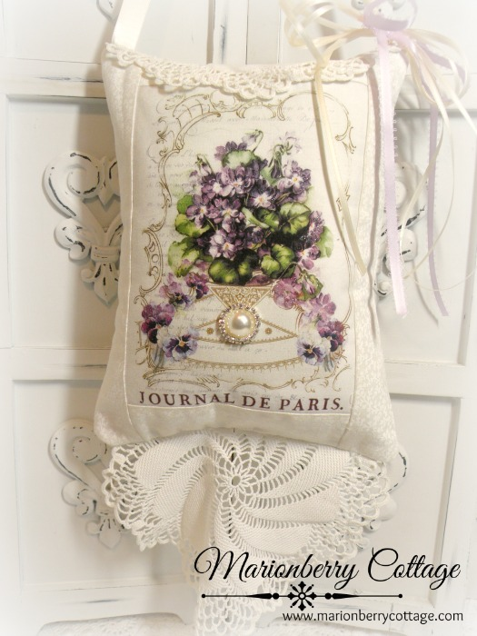 French violets KEEPSAKE Gift Pillow w/matching tag and sachet