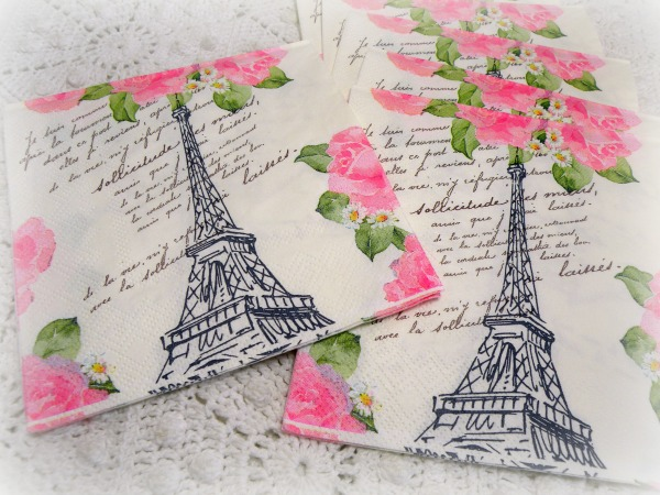 Parisian Blossom tea/bverage napkins French Pink roses 40ct