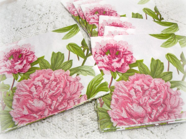 Pretty Pink Peonies tea/bverage napkins